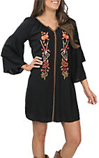 Wrangler Women's Black with Floral Embroidery Tiered Bell Sleeve Dress