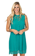 Wrangler Women's Green High Collar Sleeveless Dress