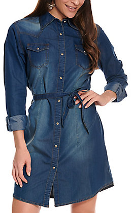 Wrangler Women's Medium Wash Denim Long Sleeve Western Shirt Dress