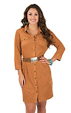 Wrangler Women's Tan Faux Suede Western Shirt Dress