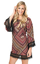 Wrangler Women's Burgundy & Brown Geometric Print with Crochet Trim Long Sleeve Dress