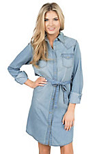 Wrangler Women's Light Wash Denim Long Sleeve Western Shirt Dress