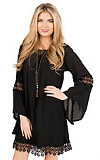 Wrangler Women's Black with Crochet Trim Long Sleeve Peasant Dress