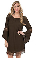 Wrangler Women's Brown with Crochet Trim Long Sleeve Peasant Dress
