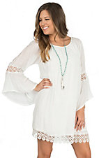 Wrangler Women's Cream with Crochet Trim Long Sleeve Peasant Dress