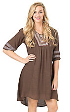 Wrangler Women's Brown with Multi Tribal Embroidery 3/4 Sleeve Dress