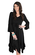 Wrangler Women's Black Cinched Waist Long Bell Sleeve Dress