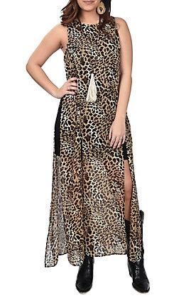 Wrangler Women's Sleeveless Cheetah Print Dress