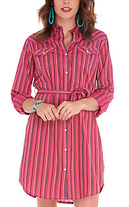 Wrangler Retro Women's Pink with Stripes Belted Snap Shirt Dress