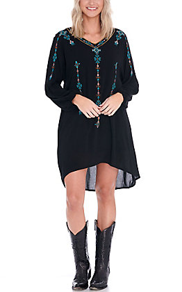 Wrangler Retro Women's Black with Turquoise Aztec Embroidery Long Sleeve Dress