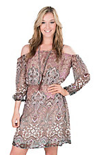 Wrangler Women's Lavender Paisley Print Cold Shoulder A-Line Long Sleeve Dress