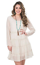 Wrangler Women's Cream with Tiered Ruffles and Crochet Details Long Sleeve Dress