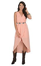 Wrangler Women's Peach Wrap Dress Sleeveless Dress