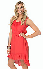 Wrangler Women's Deep Salmon with Crochet Trim Sleeveless Dress