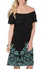 Wrangler Women's Black with Turquoise Embroidery Off the Shoulder Dress