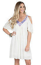 Wrangler Women's White with Purple and Blue Embroidery Cold Shoulder Short Sleeve Dress