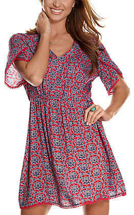 Wrangler Women's Pink with Navy Medallion Print and Short Tulip Sleeves Dress