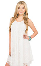 Rock 47 by Wrangler Women's White with Aztec Crochet Flyaway Sleeveless Dress