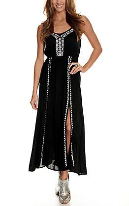 Wrangler Women's Black with White Embroidery Double Split Front Sleeveless Maxi Dress