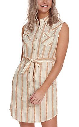 Wrangler Women's Ivory & Curry Stripe Snap Sleeveless Shirt Dress