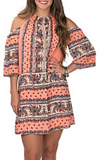 Wrangler Women's Coral with Border Print High Neck Cold Shoulder Dress
