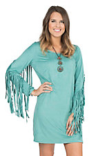 Wrangler Women's Turquoise Faux Suede with Fringe on Long Sleeves Dress