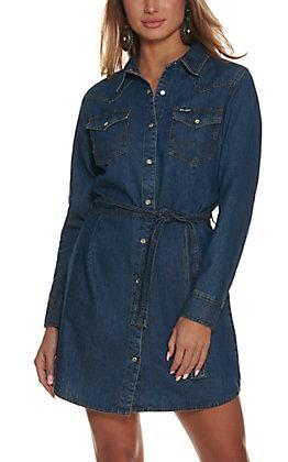Wrangler Women's Dark Denim Long Sleeve Shirt Dress