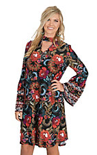 Wrangler Women's Multi-Color Floral Print Mock Collar Long Sleeve Dress