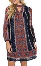 Wrangler Women's Navy & Rust Floral Peasant Sleeve Dress