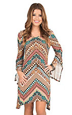 Wrangler Women's Multi Color Chevron Multi Print Long Bell Sleeve Dress
