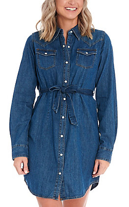 Wrangler Women's Denim Long Sleeve Western Dress