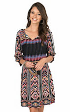 Wrangler Women's Multi Colored Exotic Print with Tassel Tie Long Cinch Sleeve Peasant Dress