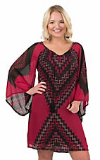 Wrangler Women's Red and Black Chevron Print with Tassel Tie Long Sleeve Peasant Dress