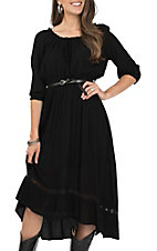Wrangler Women's Black 3/4 Length Sleeve Dress