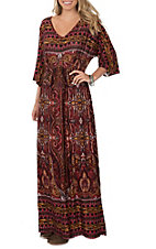 Wrangler Women's Red, Black and Mustard Multi-Print 3/4 Sleeve Maxi Dress