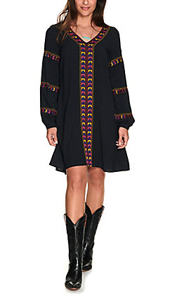 Wrangler Retro Women's Black with Multi Colored Embroidery Long Balloon Sleeve Dress