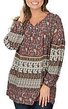 Wrangler Women's Multi Print V-Neck Long Sleeve Fashion Shirt