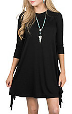 Wrangler Women's Black w/ Fringe Side Seams 3/4 Sleeve Jersey Knit Dress
