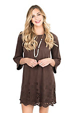 Wrangler Women's Chocolate Faux Suede with Laser Cut Details 3/4 Sleeve Dress