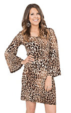 Wrangler Women's Cheetah with Long Bell Sleeves Shift Dress