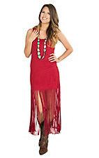 Wrangler Women's Red Faux Suede with Long Fringe Sleeveless Dress