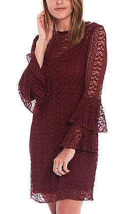 Wrangler Women's Burgundy Lace Bell Sleeve Dress