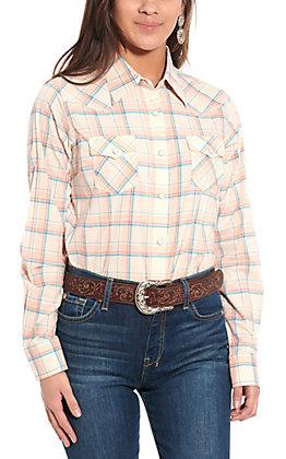 Wrangler Women's Peach Plaid Woven Long Sleeve Western Shirt