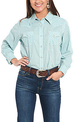 Wrangler Women's Blue & White Checkered Plaid Long Sleeve Western Shirt