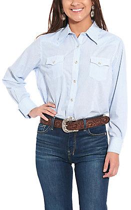 Wrangler Women's Blue & White Striped Long Sleeve Western Shirt