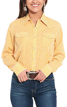 Wrangler Wome'ns Yellow & White Checkered Plaid Long Sleeve Western Shirt