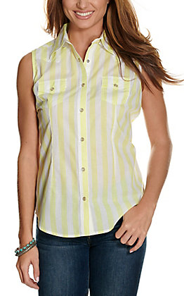 Wrangler Women's Yellow & White Stripes Sleeveless Western Shirt