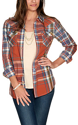 Wrangler Women's Blue and Rust Plaid Long Sleeve Western Shirt