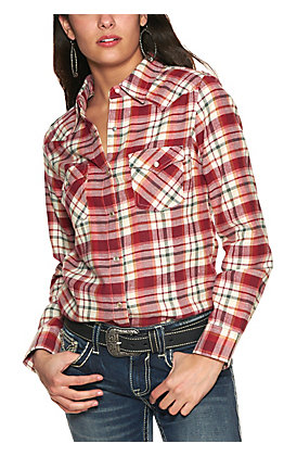 Wrangler Women's Cream and Berry Plaid Long Sleeve Flannel Western Shirt