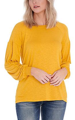 Wrangler Women's Mustard Long Balloon Sleeves Casua Knit Top